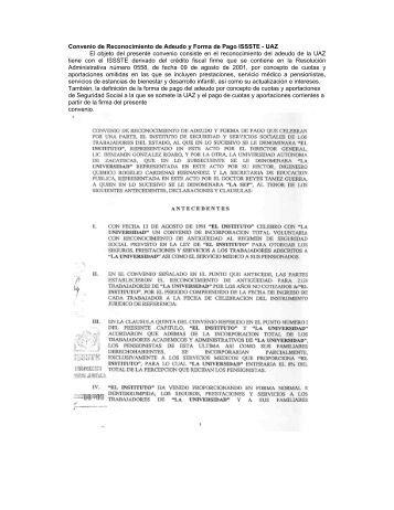 Convenio de Reconocimiento de Adeudo y Forma de Pago ISSSTE ...