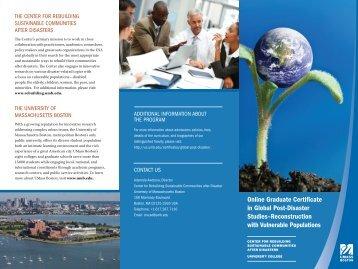 Online Graduate Certificate in Global Post-Disaster Studies ...