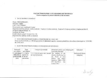 """Fisa de indeplinire a standardelor minimale - Universitatea """"Mihail ..."""