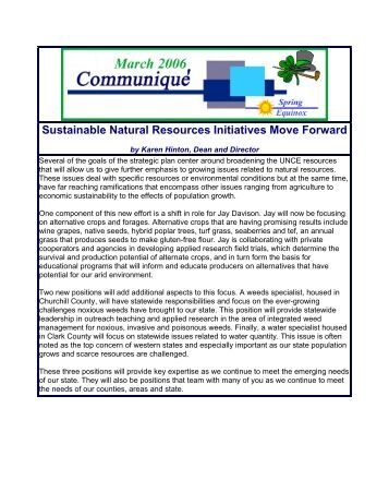 Sustainable Natural Resources Initiatives Move Forward