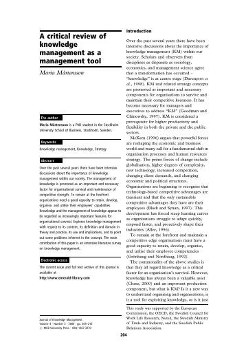 a critical review of knowledge management Exploring the knowledge management landscape: a critical review of existing knowledge management frameworks: 104018/978-1-60960-783-8ch103.