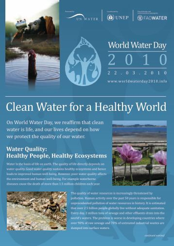 clean water for healthy world It may be deemed safe to drink by the world health organisation and other  professional authorities, but 'safe' and 'healthy' are two very.
