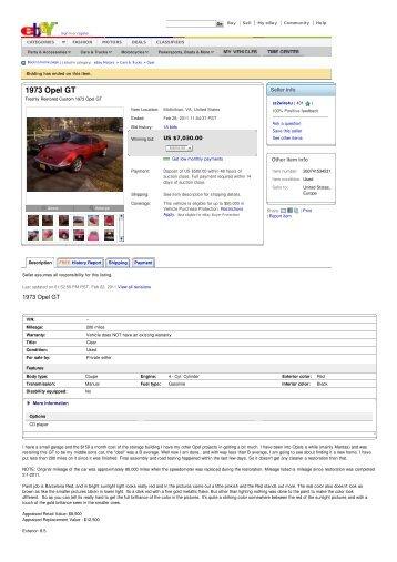 1973 Opel GT - Keith Martin's Collector Car Price Tracker