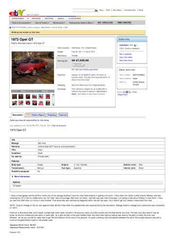 1973 Opel GT - Keith Martin's Collector Car Price Tracker