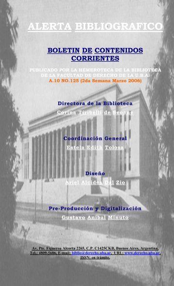 alerta bibliografico - Facultad de Derecho - Universidad de Buenos ...