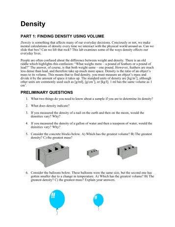 Density word problems worksheet pdf