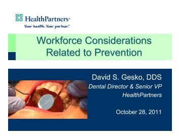 Workforce Considerations Related to Prevention - Institute for Oral ...
