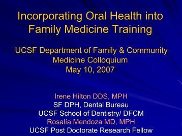 Incorporating Oral Health into Family Medicine Training - Family and ...