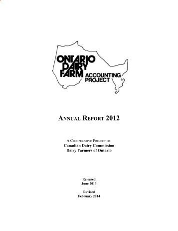 AnnuAl RepoRt 2012 - Dairy Farmers of Ontario