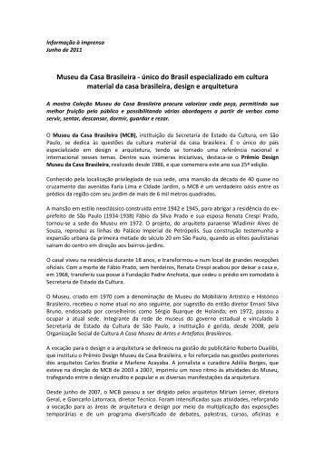 Release Institucional - Museu da Casa Brasileira