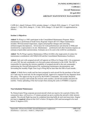 PAWG 66-1 Supplement - Pennsylvania Wing Civil Air Patrol