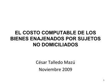 EL COSTO COMPUTABLE DE LOS BIENES ... - Ipdt.org