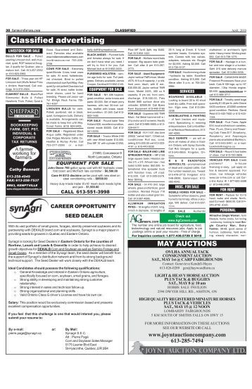 April, 2010 Classified Advertising Ads - Farmers Forum