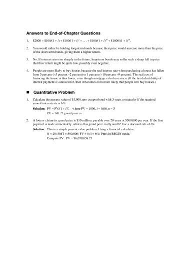 solutions to end of chapter problems Click the link below to view the appendix a file in adobe pdf this will require the free adobe reader or similar software appendix b - answers to selected end-of.