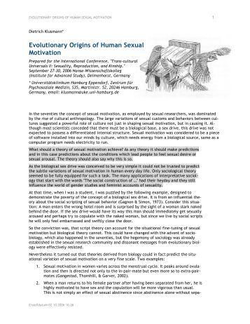 sexual motivation Hibitory aspects of the personality have deeper effects on sexual motivation than  excitatory ones  systems of sexual motivation that have evolved to rein.