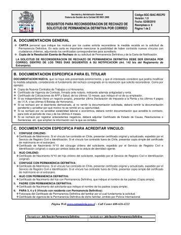 requisitos para reconsideracion de rechazo de solicitud de ...