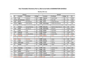 Viva Timetable Chemistry Part II, 2012 to be held at EXAMINATION ...