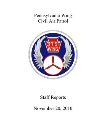 Pennsylvania Wing Civil Air Patrol Staff Reports November 20, 2010