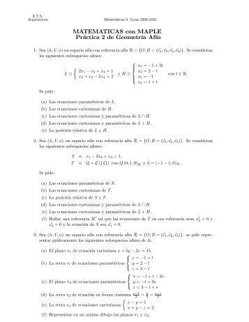 MATEMATICAS con MAPLE Práctica 2 de Geometria Afin