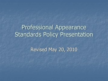 Professional Appearance Standards Policy ... - City of El Paso