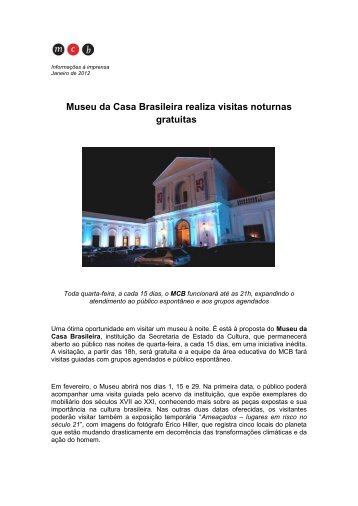 Museu da Casa Brasileira realiza visitas noturnas gratuitas