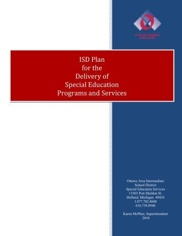 ISD Plan for the Delivery of Special Education Programs and Services
