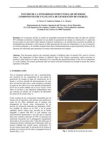estudio de la integridad estructural de diversos componentes de ...