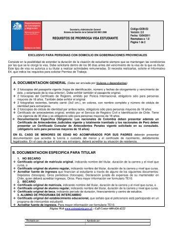 REQUISITOS DE PRORROGA VISA ESTUDIANTE B ...
