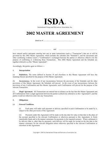 Isda Master Agreement 2002 Template 27 Isda Master