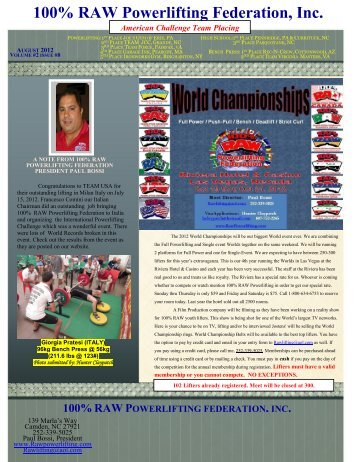 2012 Aug Newsletter - Raw Powerlifting