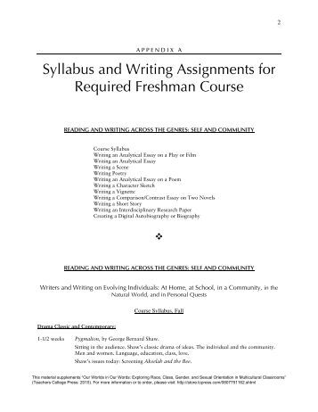syllabus essay assignment comparison Essay: a comparison of the high-school chemistry curricula of china   appendix 1 shows that 16 of the 22 topics in the chinese curriculum.