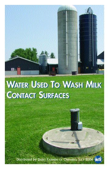 Water Used To Wash Milk Contact Surfaces - Dairy Farmers of Ontario