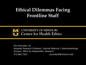 ethical dilemmas in health care setting Ethical dilemmas in healthcare one of the most pressing ethical issues healthcare providers face is acting in the best interests of the.