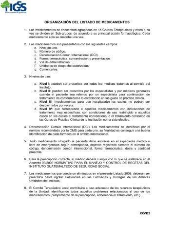organización del listado de medicamentos - Instituto Guatemalteco ...