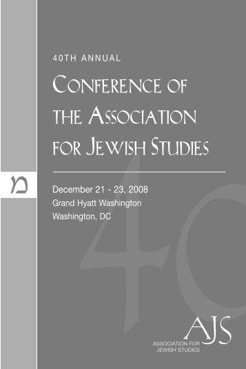 Entire Conference Program Book - Association for Jewish Studies