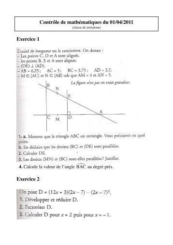 Contrôle de mathématiques du 01/04/2011 Exercice 1 Exercice 2