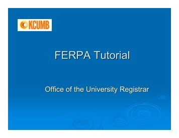 FERPA Tutorial
