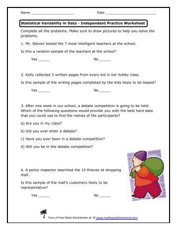 Printables Bivariate Data Worksheets name statistical variability in data independent practice worksheet math