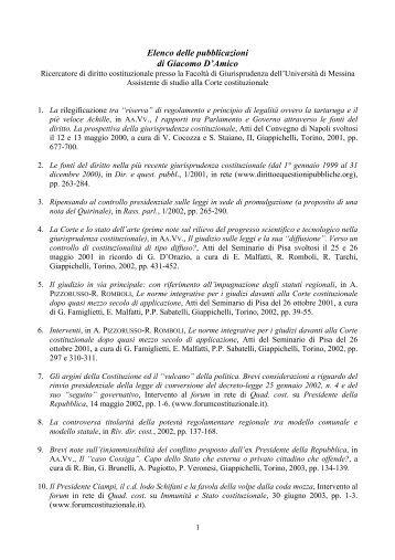 Elenco delle pubblicazioni di Giacomo D'Amico - Archivio di Diritto e ...