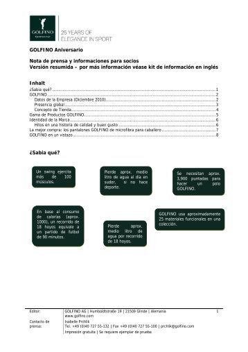 GOLFINO Aniversario Nota de prensa y informaciones para socios ...