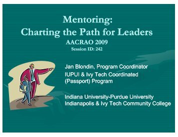 Mentoring: Charting the Path for Leaders - AACRAO