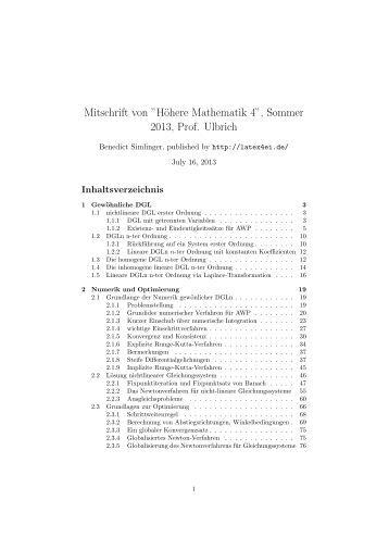 """Mitschrift von """"Höhere Mathematik 4"""", Sommer 2013 ... - LaTeX 4 EI"""