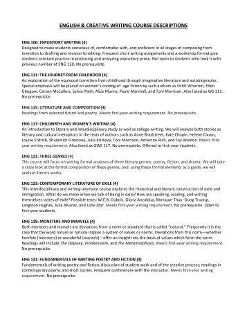 creative writing course description high school