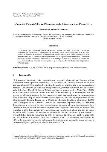 Coste del Ciclo de Vida en Elementos de la ... - Adingor.es