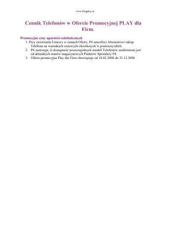 Cennik telefonów w Ofercie Play dla Firm od 18.02 ... - Blog PLAY