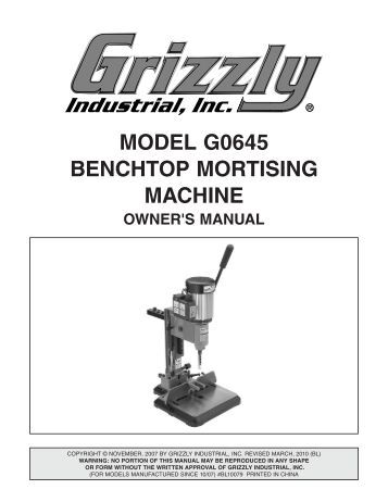 grizzly mortise machine