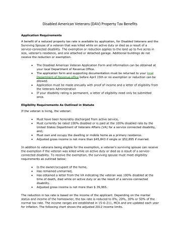 Nj Veterans Property Tax Exemption