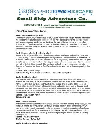 "5 Nights ""Great Escape"" Cruise Itinerary - Small Ship Adventure ..."