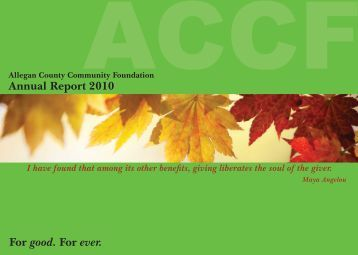 2010 Annual Report - Allegan County Community Foundation
