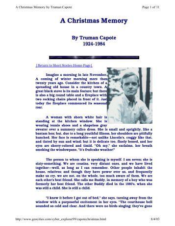 a christmas memory by truman capote pdf